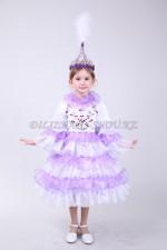 0064. Казахский малышковый костюм с сиреневыми оборками