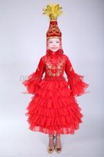 0067. Казахское платье красного цвета