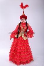 33574. Казахский классический костюм, красный, большой размер