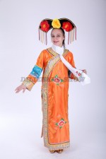 33589. Китайское традиционное платье в оранжевом