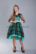 Нарядное платье в испанском стиле со шлейфом. Бирюза.