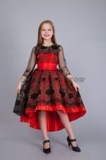 5261. Нарядное платье в испанском стиле со шлейфом. Красное.