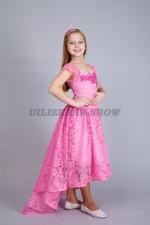 5264. Нарядное платье из кружев со шлейфом. Розовое.