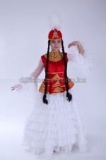 0050. Казахский костюм для девочек с баской красный