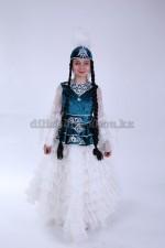 0050. Казахский костюм для девочек с баской синий