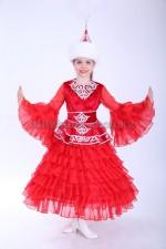 0051. Казахский костюм с баской для девочек красный