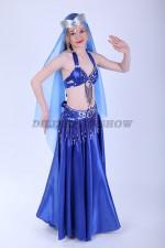 33314. Детский костюм для восточных танцев. Синий.