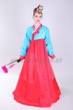 Подростковый корейский костюм ханбок красный