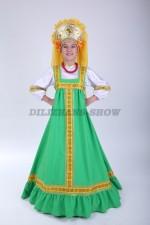 4221. Русский народный сарафан Алёнушка зелёный