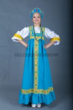 Русский сарафан для девочки голубой